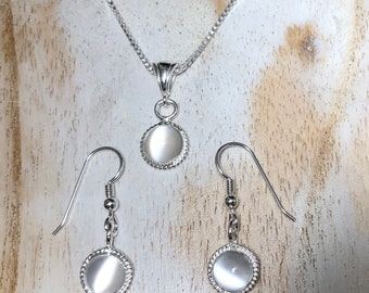 Simple Dainty Moonstone Necklace and Earrings Set in Sterling Silver, Artisan Petite Jewelry Sets with Gemstone, Handmade OOAK Jewelry