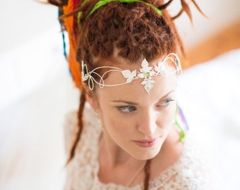 Woodland Bridal Gemstone Tiara, Renaissance Wedding Circlets, Handmade Sterling Silver Art Nouveau Headpiece