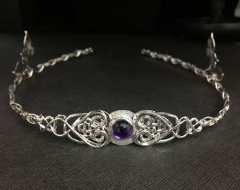 Celtic Woodland Amethyst Tiara in Sterling Silver, Celtic Tiara, Celtic Leaf Circlet, Artisan Handmade Bridal Accessories, Irish Weddings