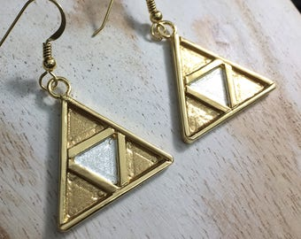 TriForce Earrings in Sterling Silver with a 24K Gold-Plate Overlay, Handmade Artisan Hyule, Legend of Zelda Earrings