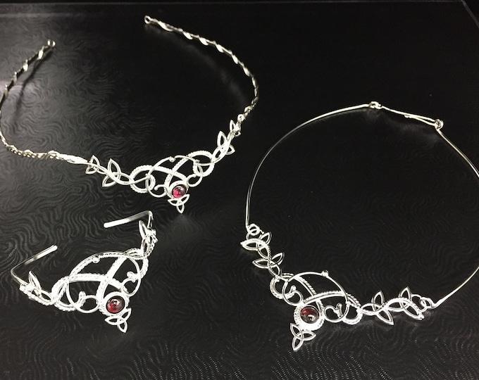 Celtic Bridal Moonstone Amethyst Set Sterling Silver, Artisan Tiara, Bracelet Cuff and Neck Ring, Alternative Bridal, Gifts For Her