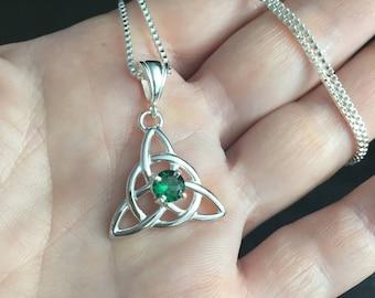 Irish Celtic Necklace, Charmed Necklaces, Irish Jewelry, Irish Gemstone Necklace, 925 Box Chain, Charmed TV Show, Celtic Knotwork Necklaces