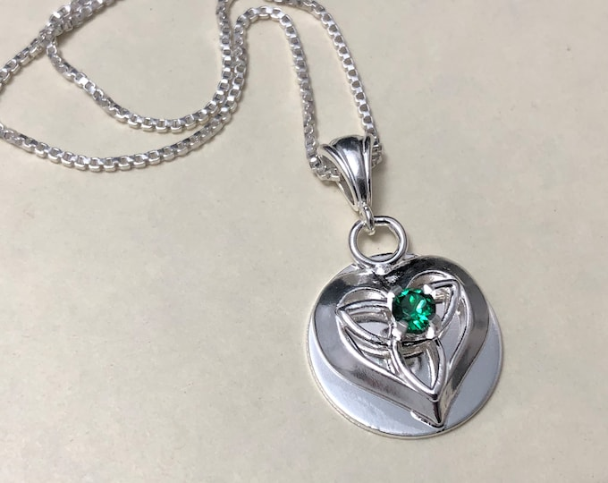 Celtic Heart Knot Emerald Necklace in Sterling Silver, Irish Necklace, Gifts For Her, Charmed TV Show, Celtic Jewelry
