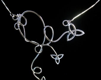 Freeform Celtic Pendant Necklace, Sterling Silver, Handmade, Celtic Knots, Bridal Jewelry
