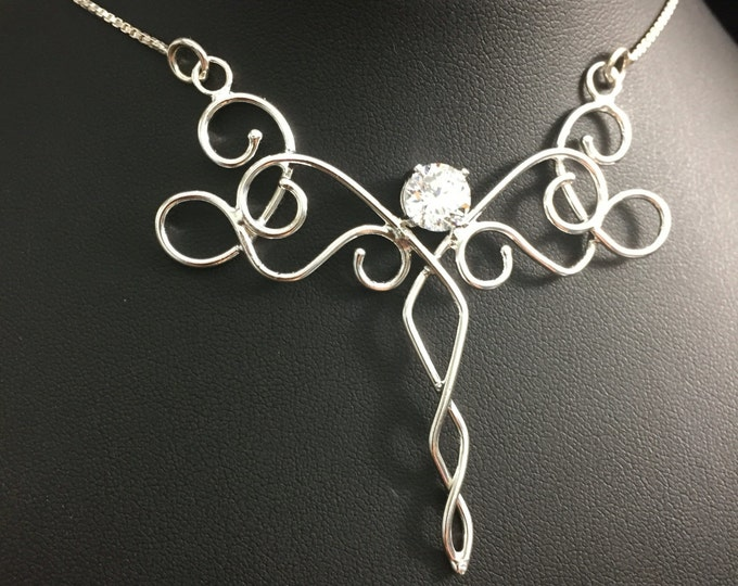 Bohemian Fantasy Renaissance Celtic Necklace Pendant in Sterling Silver, Box Chain 925, Fae Fairy Necklace, Artisan Handmade OOAK