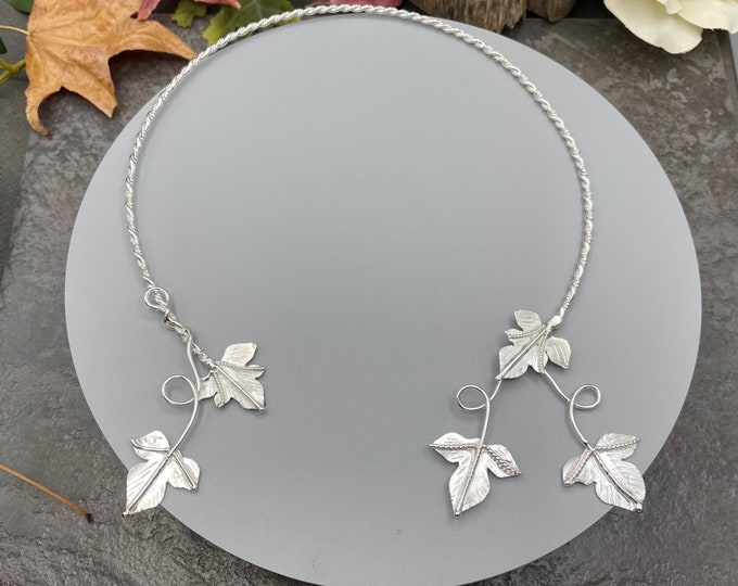 Woodland Leaf Neck Rings in Sterling Silver, Leaf Neck Torc, Elvish Neck Ring,  Autumn Torque, Handmade Sterling Silver - 15 Inches Size