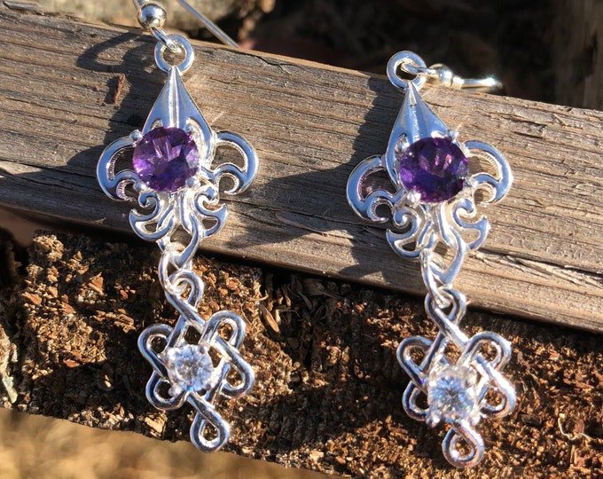 Celtic Knot Dangle Drop Gemstone Earrings, Irish Drop Earrings, Gifts For Her, Anniversary, Birthday,Celtic Wedding, Celtic JewelryCute Earr