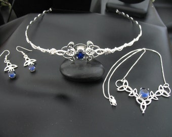 Celtic Knot Sapphire Tiara in Sterling Silver, Irish Weddings, Celtic Necklace, Earrings, Circlet, Handmade Bridal Sets, Gifts For Her