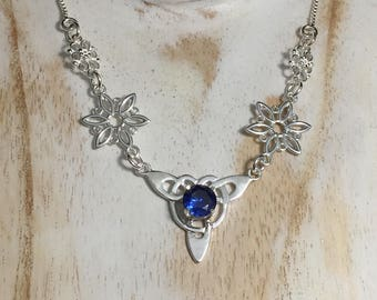 Celtic Knot Gemstone Necklace in Sterling Silver, Gifts For Her Irish Necklaces with 925 Box Chain, Fae Wedding Necklace, Boho Chic Style