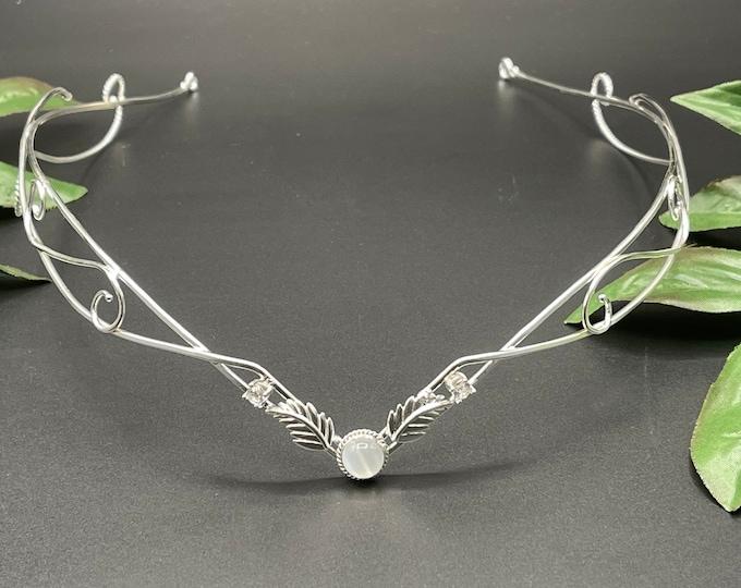 Fae Woodland Tiara, Elven Inspired Wedding Circlet in Sterling Silver, Artisan Renaissance Bridal Diadem, Alternative Bridal Tiaras