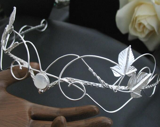 Elvish Woodland Bespoke Wedding Circlet, Sterling Silver Bridal Headpiece, Sterling Silver Wedding Circlet, Handmade,  Gemstone Cabochon