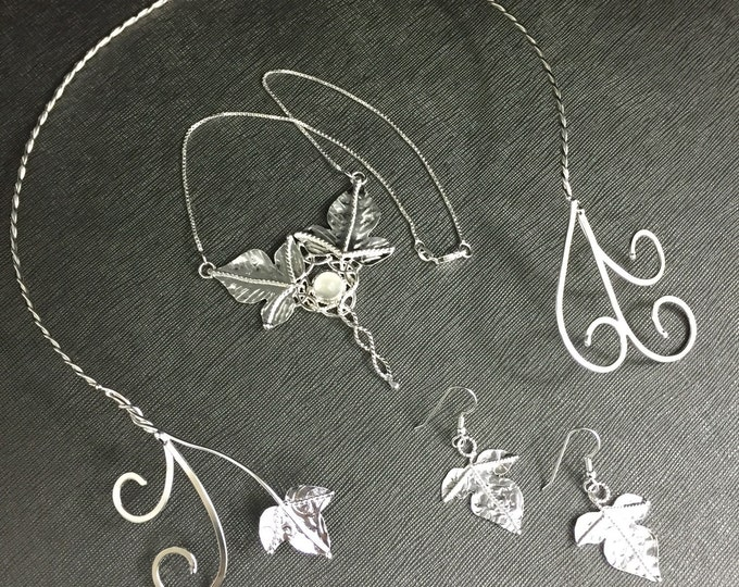 Woodland Neck Ringlet Torc in Sterling Silver, Moonstone Leaf Necklace and Leaf Earrings Jewelry Sets, Gifts For Her