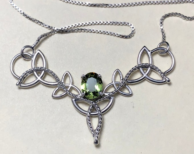 Celtic Knot Peridot Necklace in Sterling Silver, Scottish Necklace, Artisan Handmade Neck Jewelry, Pictish, Irish Designs