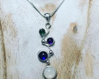 Artisan Gemstones Statement Necklaces in sterling silver, Artisan Art Nouveau Gemstone Necklace, Sterling Silver Bohemian Necklaces