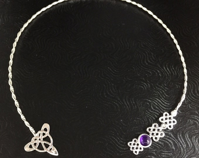 Celtic Neck Torc in with Amethyst, Moonstone in Sterling Silver, Irish Trinity Knot Neck Ring, Gifts For Her