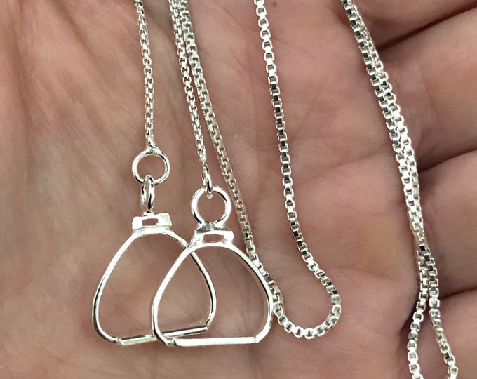 Equestrian English Stirrup Necklace in Sterling Silver, Horse Stirrups Jewelry, Artisan Handmade Stirrups Miniatures