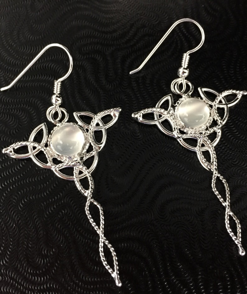 Irish Celtic Trinity Knot Earrings with Moonstones in Sterling Silver Boho Style Earrings Irish Earrings Drop Celtic Trinity Knot Earrings