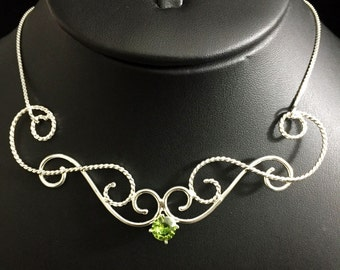 Elvish Bohemian Peridot Sapphire Garnet Necklaces in Sterling Silver, Bohemian Handmade Jewelry, Statement Pieces, Gifts For Her, Birthday
