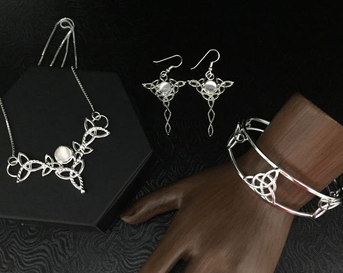 Celtic Knot Moonstone Jewelry Sets, Irish Gemstone Necklace, Bracelet Cuff, Earrings, Gifts For Her, Irish Jewelry Bridal Sets