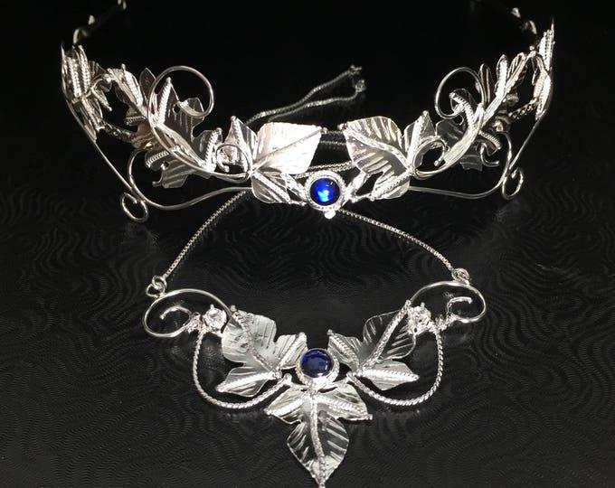 Woodland Bridal Moonstone Sapphire Tiara, Necklace, Leaf Earring Sets, Leaf Wedding Sets, Artisan Jewelry, Alternative Bridal Accessories