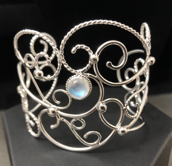 Bracelet Cuff with Gemstones Bohemian Elvish Wire Arm Cuff Bracelet Arm Boho Chic Bracelet Cuff in Sterling Silver Victorian Cuffs