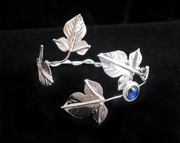 Woodland Wrap Leaf Gemstone Bracelet Cuff in Sterling Silver, Elvish Artisan Bracelet Cuff, Wrist Jewelry, Gifts for Her