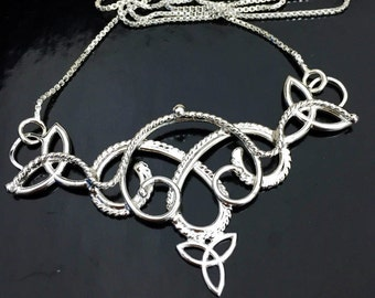 Bohemian Celtic Sterling Silver Pendant Necklace with 16 Inch Box Chain, Boho Victorian Necklaces, Handmade Celtic Jewelry, Sterling Silver