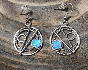 Blue Opal Circle Earrings in Sterling Silver, Celestial Earrings, Artisan Silver Circle Earrings, Eternity Circle Double Hoop Earrings