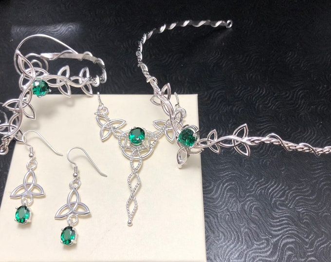 Celtic Knot Wedding Jewelry Set In Sterling Silver, Artisan Tiara, Earrings, Upper Arm Cuff, Necklace, Irish Bridal Wedding Accessories