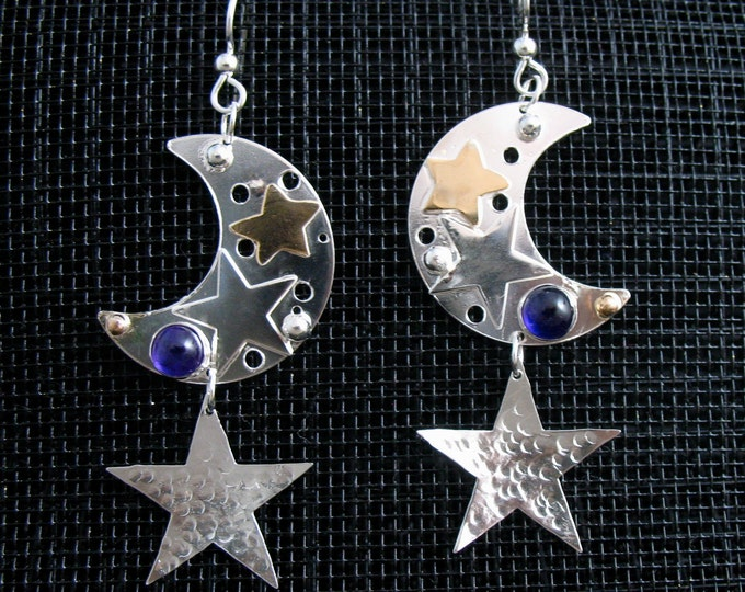 Crescent Moon and Star Earrings in Sterling Silver with 14K gold-filled stars, Sterling Silver Celestial Jewelry, Gifts For Her