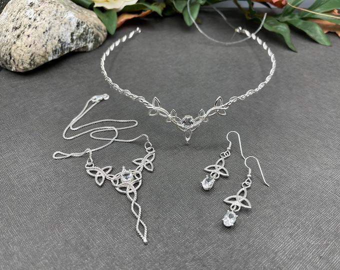 Celtic Knot Wedding Tiara, Necklace and Earring Jewelry Set, Irish Bridal Set, Celtic Wedding Accessories, Bridal Sets