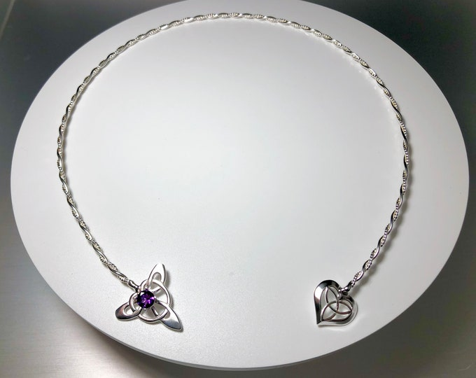 Emerald Amethyst Sapphire Neck Jewelry in Sterling Silver, Irish Neck Torc, Gifts For Her,  Handmade Neck Jewelry, Celtic Wedding Accessory