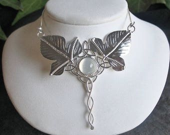 Celtic Woodland Leaf Moonstone Amethyst Necklace in Sterling Silver, Fae Elvish Jewelry, Gifts For Her
