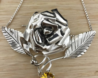 Rose Succulent Necklace with Gemstone in Sterling Silver, Artisan Floral Jewelry, Gifts For Her, Custom Handmade