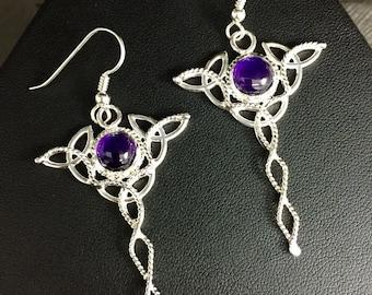 Celtic Trinity Knot Drop Amethyst Earrings in Sterling Silver, Gifts For Her, Dangle Earrings, Irish Wedding, Wedding AccessoriesCute Earr