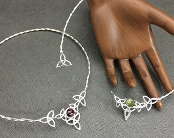 Celtic Knot Moonstone Choker in Sterling Silver, Irish Neck Ring, Adjustable Neck Torcs, Neck Torques, Sterling Celtic Bohemian Necklets