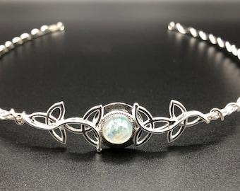 Circlets, Celtic Moonstone Wedding Tiara in Sterling Silver, Trinity Knot Irish Diadem, Bridal Circlets 10mm Gem, Celtic Wedding Circlets