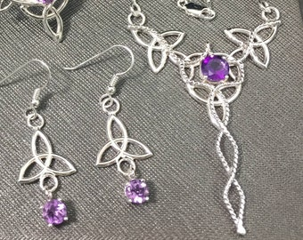 Celtic Knot Amethyst Necklace and Earrings Jewelry Set in 925, Irish Wedding Jewelry, Gifts For Her, Irish Wedding Sets, Victorian Wedding