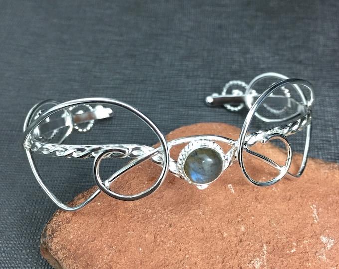 Bohemian Gemstone Bracelet Cuff in Sterling Silver, Elvish Cuff Bracelets, Gift for Her, Birthday Gifts