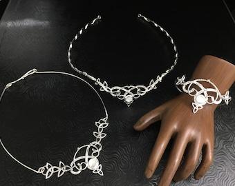 Celtic Bohemian Jewelry Set, Moonstone Wedding Tiara, Bracelet, Neck Ring Handmade Set in Sterling Silver, Boho Irish Bridal Accessories