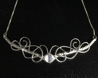 Large Statement Renaissance Elvish Style Necklace, Handmade Sterling Silver Gemstone Bespoke Necklace, Bohemian Wedding Necklace