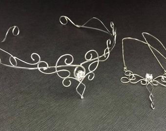 Elvish Bridal Tiara Jewelry Set with Gemstone, Necklace and Bracelet Cuff, Victorian Bohemian Bridal Jewelry Sets with Gemstones