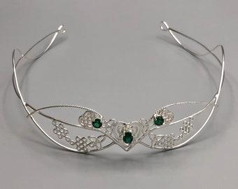 Celtic Heart Emerald Circlet in Sterling Silver, Irish Tiara, Scottish Diadem, Wedding Tiaras, Alternative Bridal Accessories, Gifts For Her