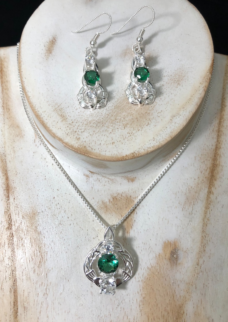d15b832fd Irish Claddagh necklace and Earring Set in Sterling Silver | Etsy