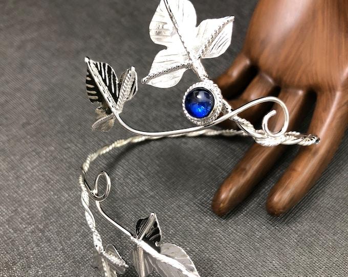Ivy Leaf Wrap Upper Bracelet Cuff in sterling silver, Woodland Ivy Cuff, Elvish Bracelet Wrap with Gemstone - Sterling silver Handmade