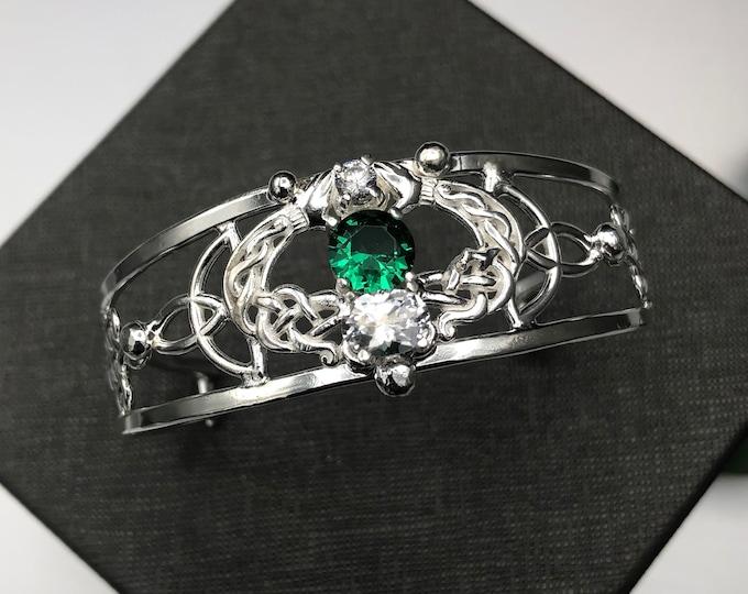 Celtic Knot Claddagh Emerald Bracelet Sterling Silver, Irish Statement Artisan Cuff Bracelet, Gifts For Her, Scottish Bracelets