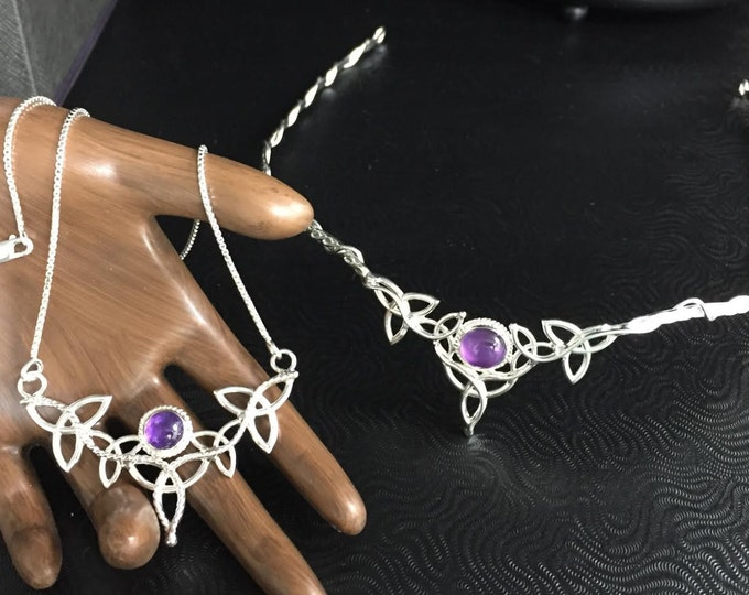 Irish Celtic Knot Amethyst Tiara and Matching Necklace Set in Sterling Silver, Bridal Accessories Jewelry Set, Artisan Alternative Bridal