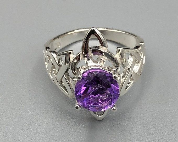 Celtic Trinity Knot Amethyst Sterling Silver Ring, Irish Celtic Knot Rings with Gemstone, Handmade Irish Trinity Knot Moonstone Rings