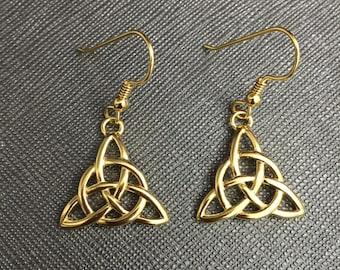 Celtic Triquettra Trinity Knot Earrings, Sterling Silver 24K Gold Plated Irish Earrings, Drop Dangle Trinity Knot Earrings 24K GPCute Earr