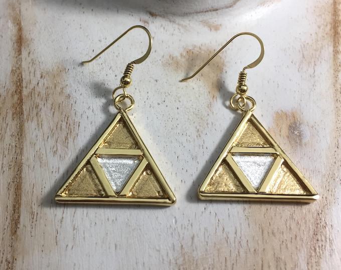 TriForce Inspired Earrings in Sterling Silver with a 24K Gold-Plate Overlay, Handmade Artisan Legend of Zelda Earrings, Cosplay
